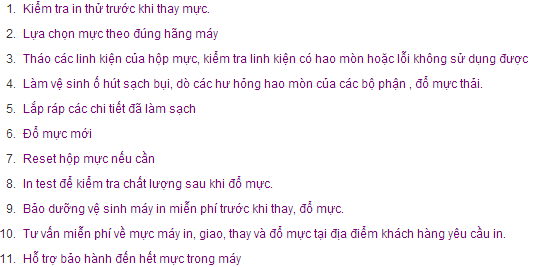 do muc may in theo quy trinh tieu chuan